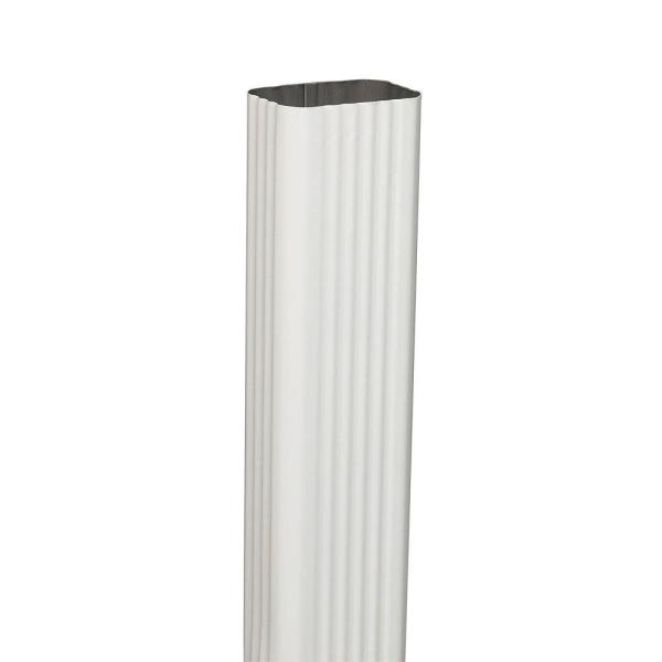 3 in. x 4 in. x 10 ft. Aluminum Downspout White