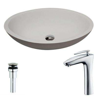 Maine 1-Piece Man Made Stone Vessel Sink in Matte White with Crown Faucet in Chrome
