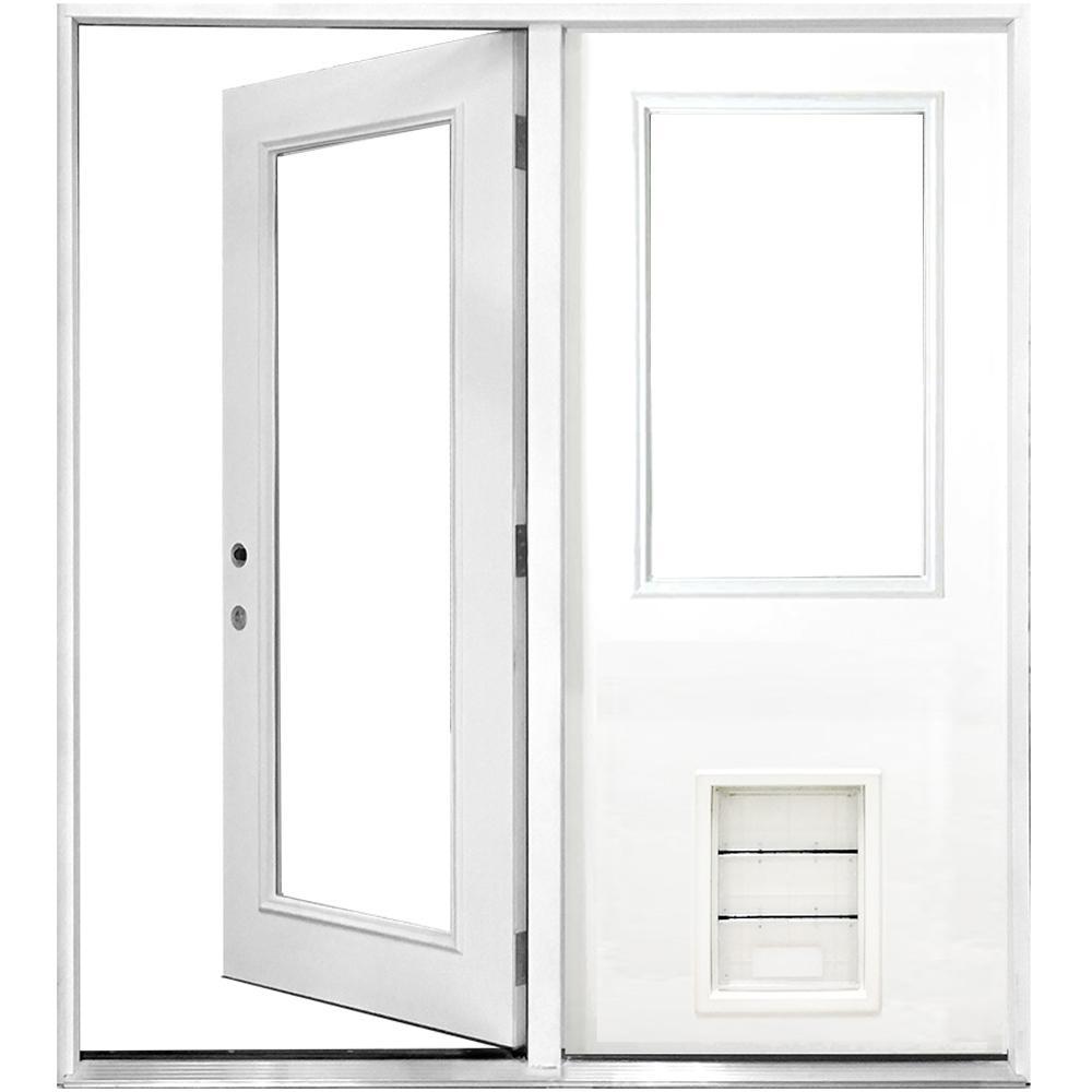60 in. x 80 in. Clear Lite Primed White Fiberglass Prehung Right-Hand Inswing Center Hinge Patio Door with XL Pet Door