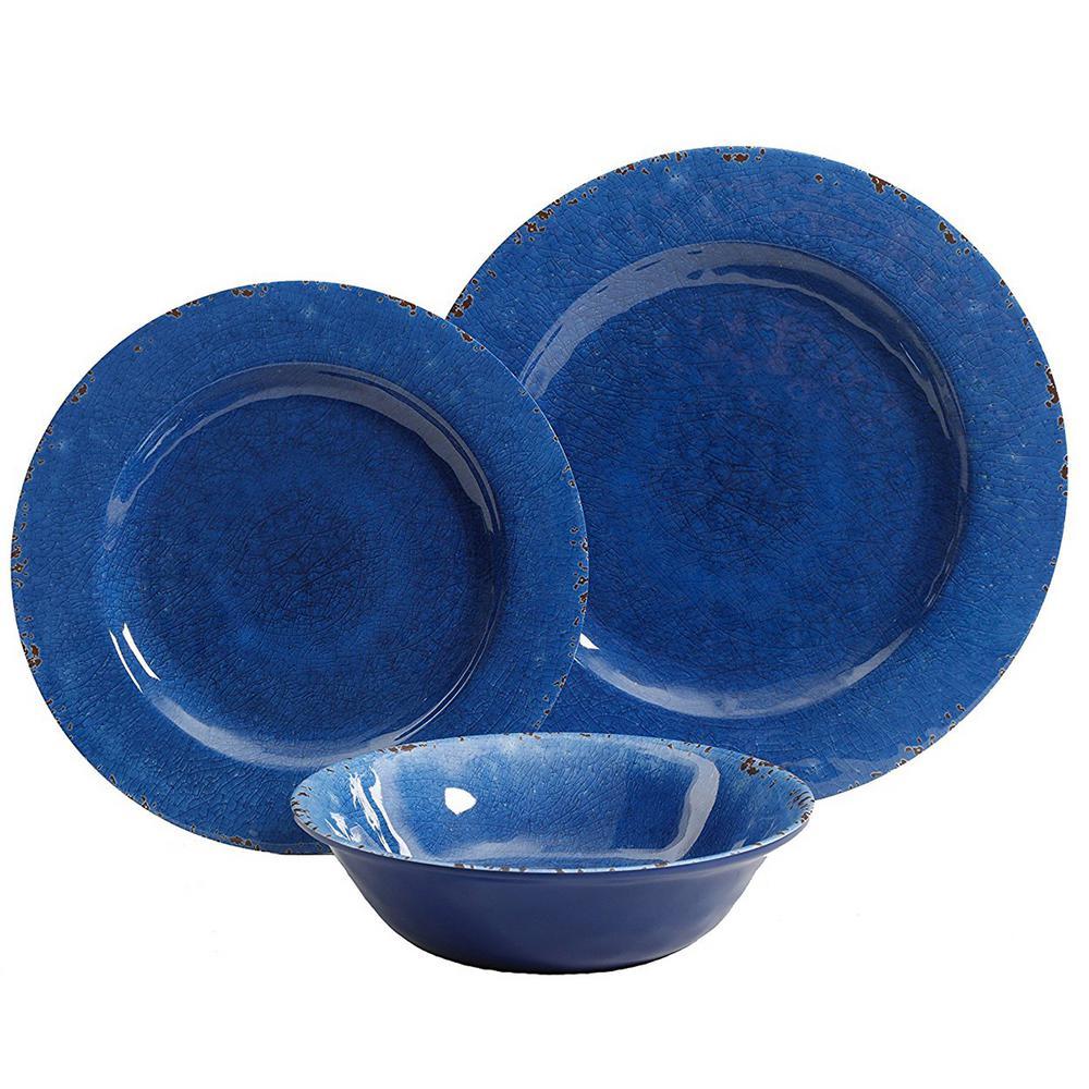 Mauna 12-Piece Cobalt Blue Crackle Dinnerware Set