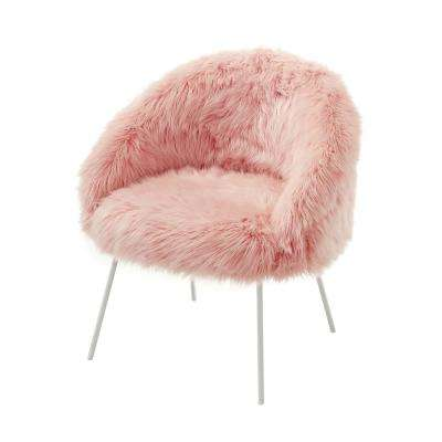 Ana Luxe Fur with White Powder Coated Metal Leg Accent Chair, Rose