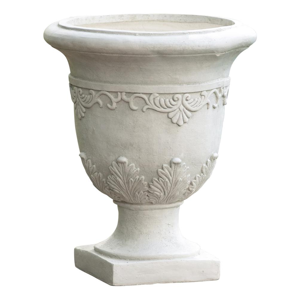 Noble House 20 in. White Stone Antique Moroccan Urn Planter