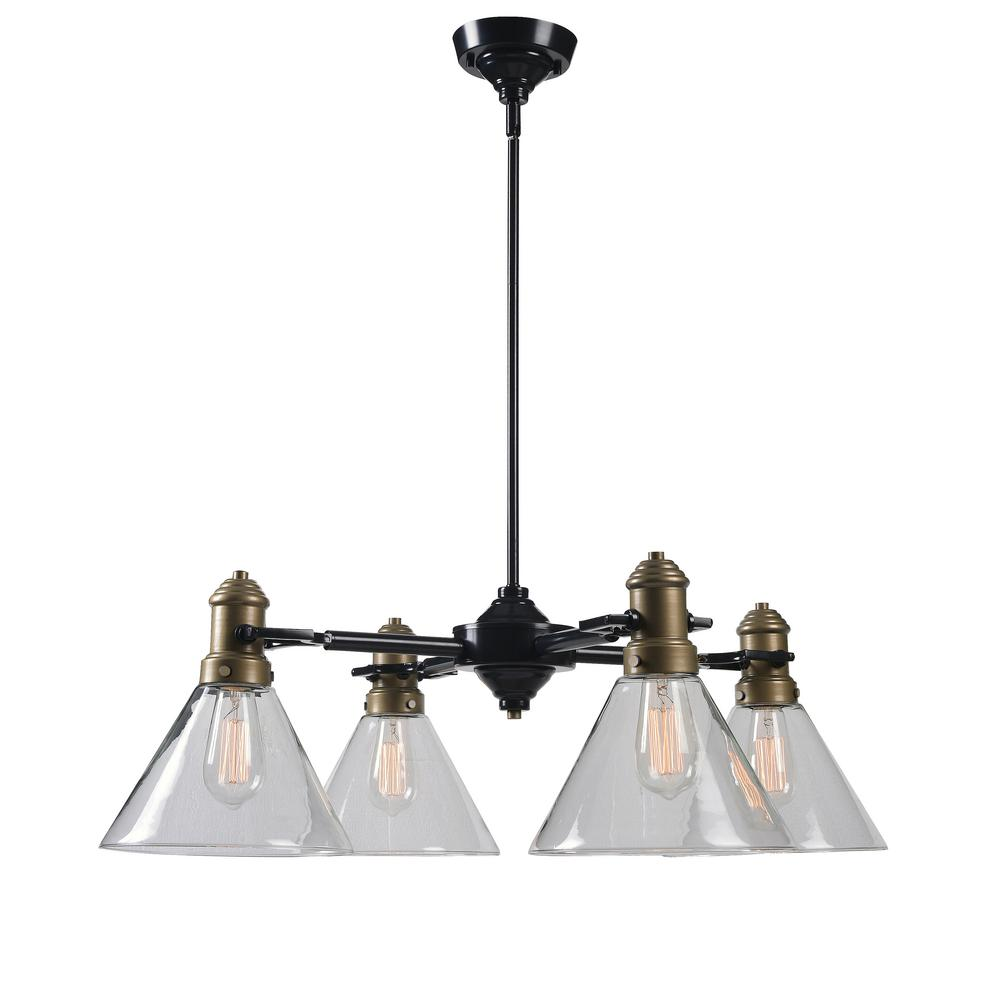 Kenroy Home Outlook 4-Light Bronze Chandelier with Clear Glass Shade