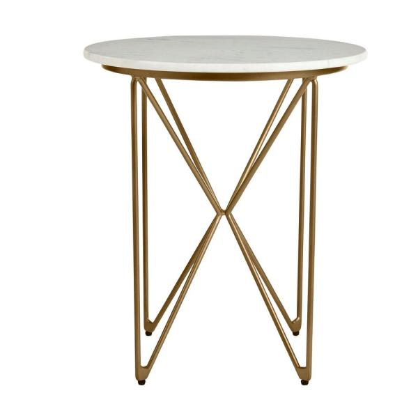 Round Accent Table With Gold Finish Wire Base And Natural Marble Top