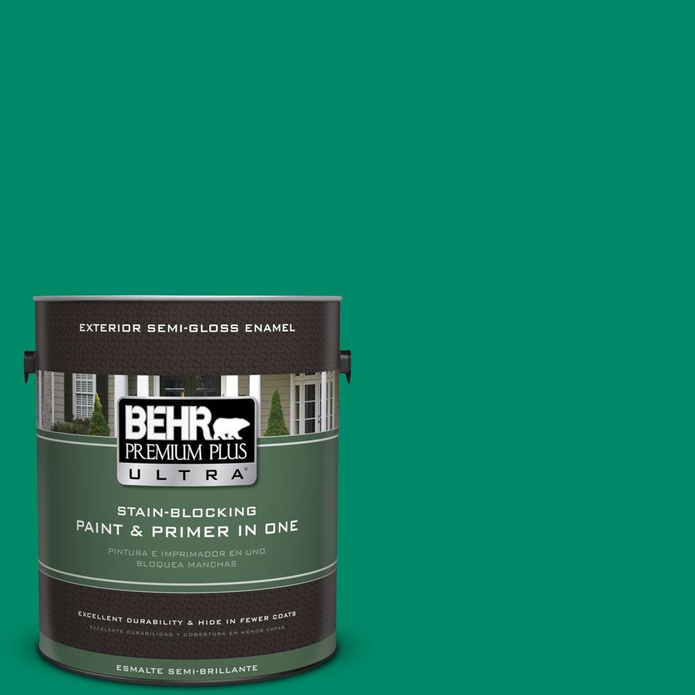 BEHR Premium Plus Ultra 1-gal. #S-G-470 Festive Green Semi-Gloss Enamel Exterior Paint