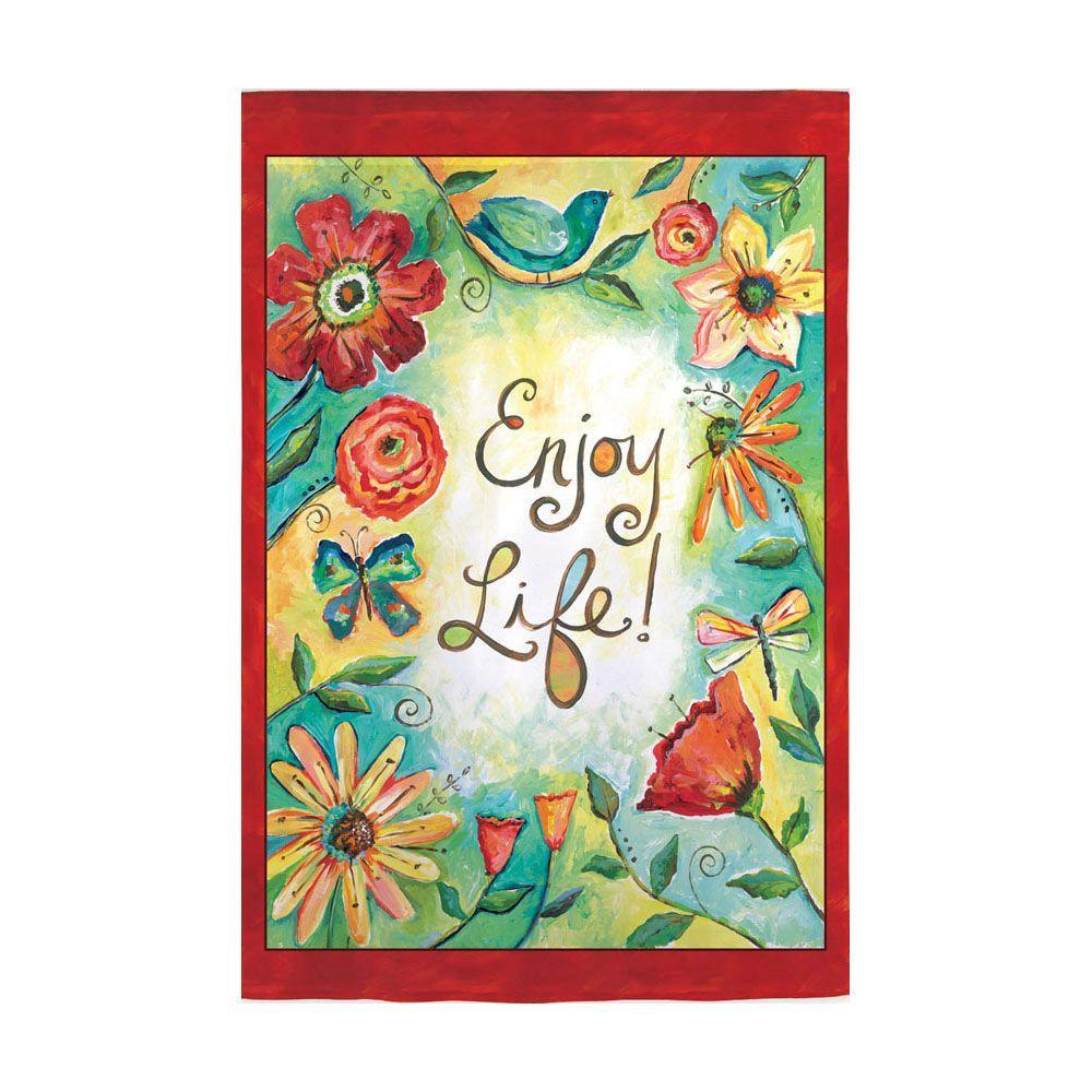 Evergreen Enterprises 18 in. x 12-1/2 in. Enjoy Life Garden Flag