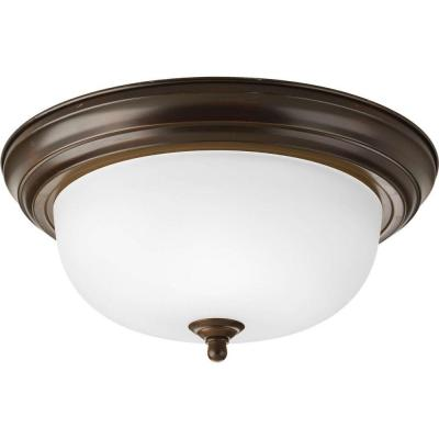 2-Light Antique Bronze Flush Mount with Etched Glass