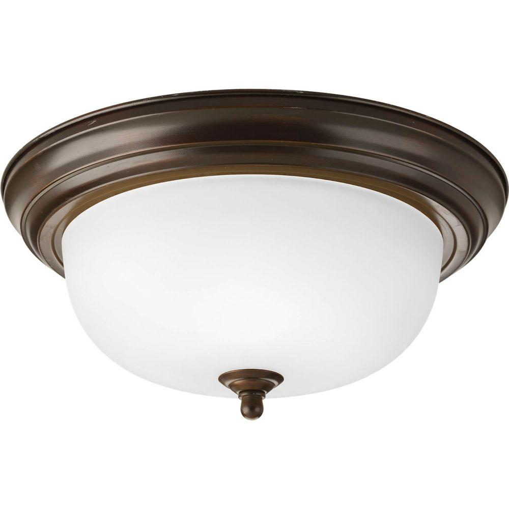 2-Light Antique Bronze Flushmount
