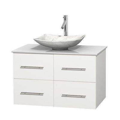 Centra 36 in. Vanity in White with Solid-Surface Vanity Top in White and Sink