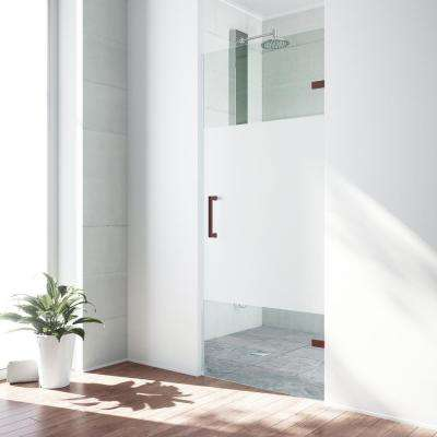 SoHo 28.5 in. x 70.625 in. Frameless Pivot Shower Door with Hardware in Oil Rubbed Bronze and Frosted Privacy Panel