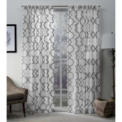 Muse 54 in. W x 96 in. L Sheer Rod Pocket Top Curtain Panel in Silver (2 Panels)