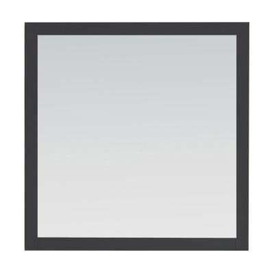 34.00 in. W x 34.00 in. H Framed Square  Bathroom Vanity Mirror in Dark Charcoal