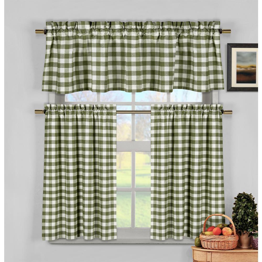 Kingston Sage Kitchen Curtain Set - 58 in. W x 15 in. L (3-Piece)