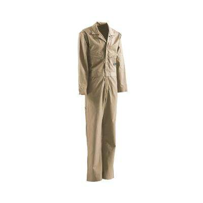 Men's 54 in. x 32 in. Khaki Cotton and Nylon FR Deluxe Coverall