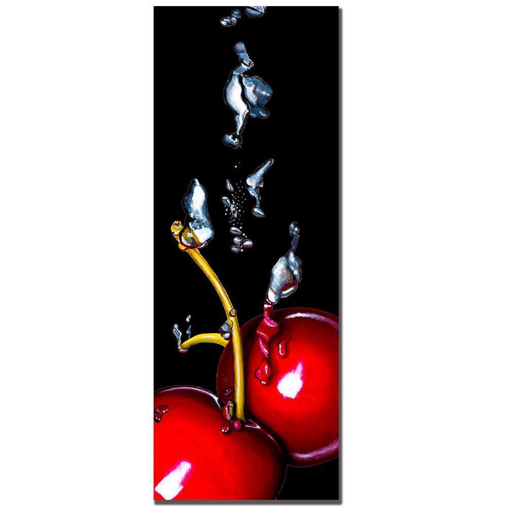 12 in. x 32 in. Cherry Splash by Roderick Stevens Canvas Art