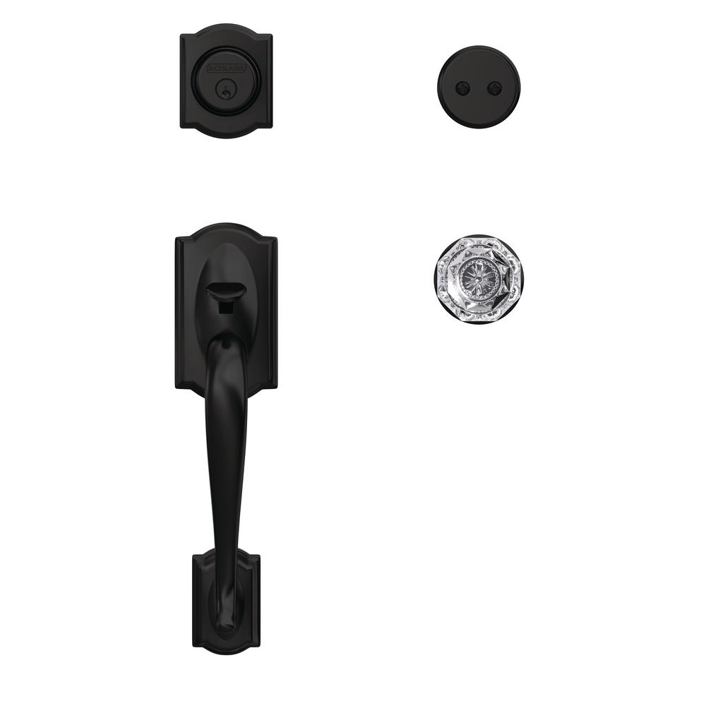Schlage Century Matte Black Entry Door Handle With