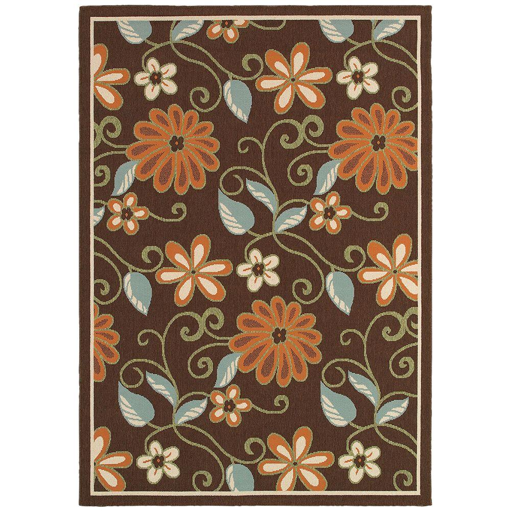 LR Resources Lanai Chocolate And Terra 7 Ft. 9 In. X 9 Ft