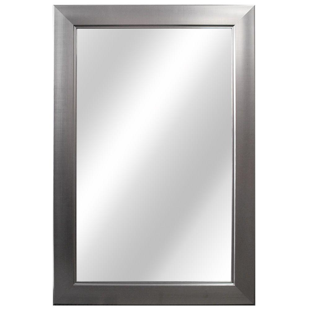 Home decorators collection 24 in w x 35 in l framed fog free wall mirror in brushed nickel Home decorators collection mirrors