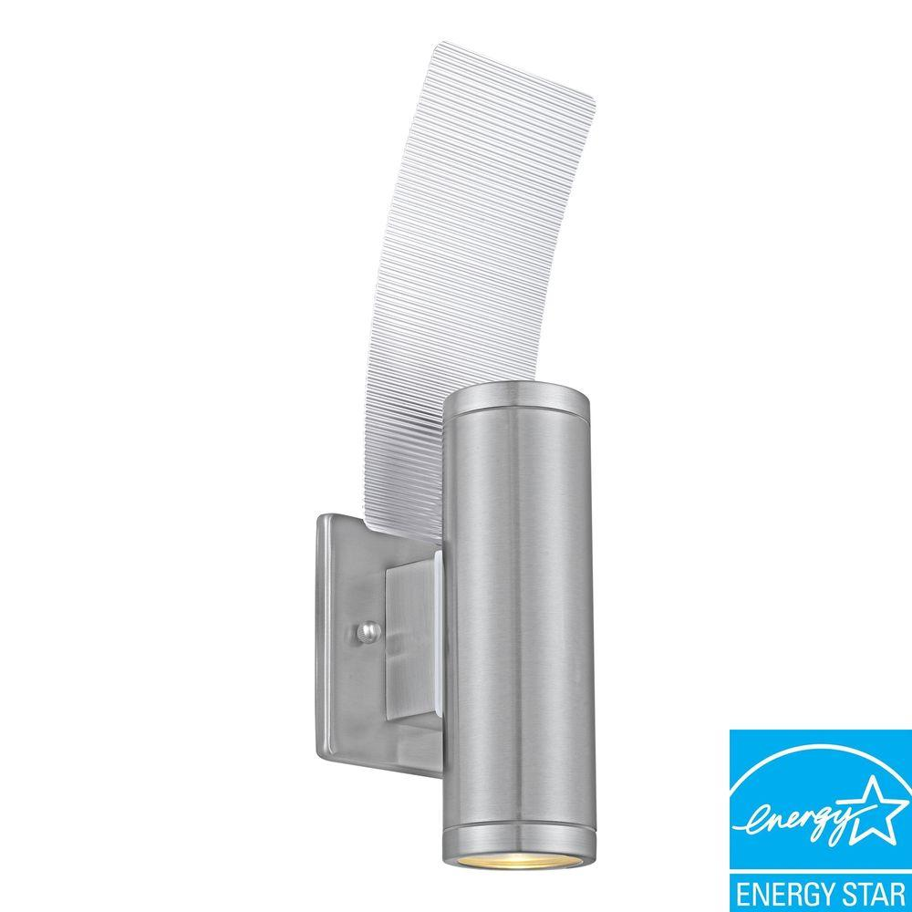 Riga 2-Light Stainless Steel Outdoor Wall-Mount Cylinder Lamp