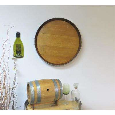 Reclaimed Oak Barrel Head Plaque Lacquer Finish Wall Decor