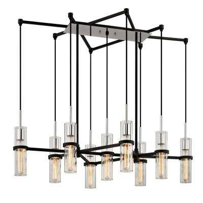 Xavier 9-Light Vintage Iron 27 in. W Linear Pendant with Clear Glass
