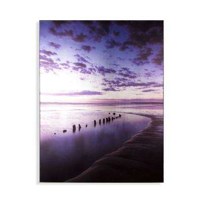 """24 in. x 32 in. """"Metallic Serenity Shores"""" Printed Wall Art"""