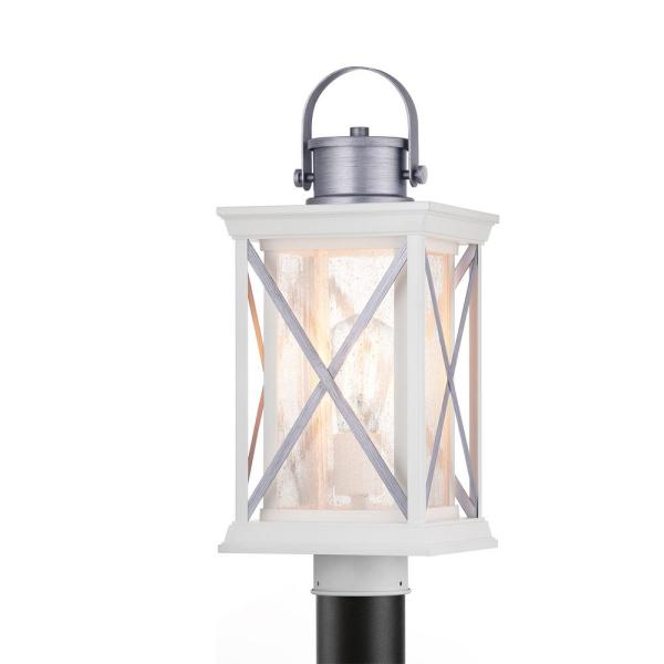 Pendleton 1-Light Outdoor Satin White Post Light with Antique Silver Accents