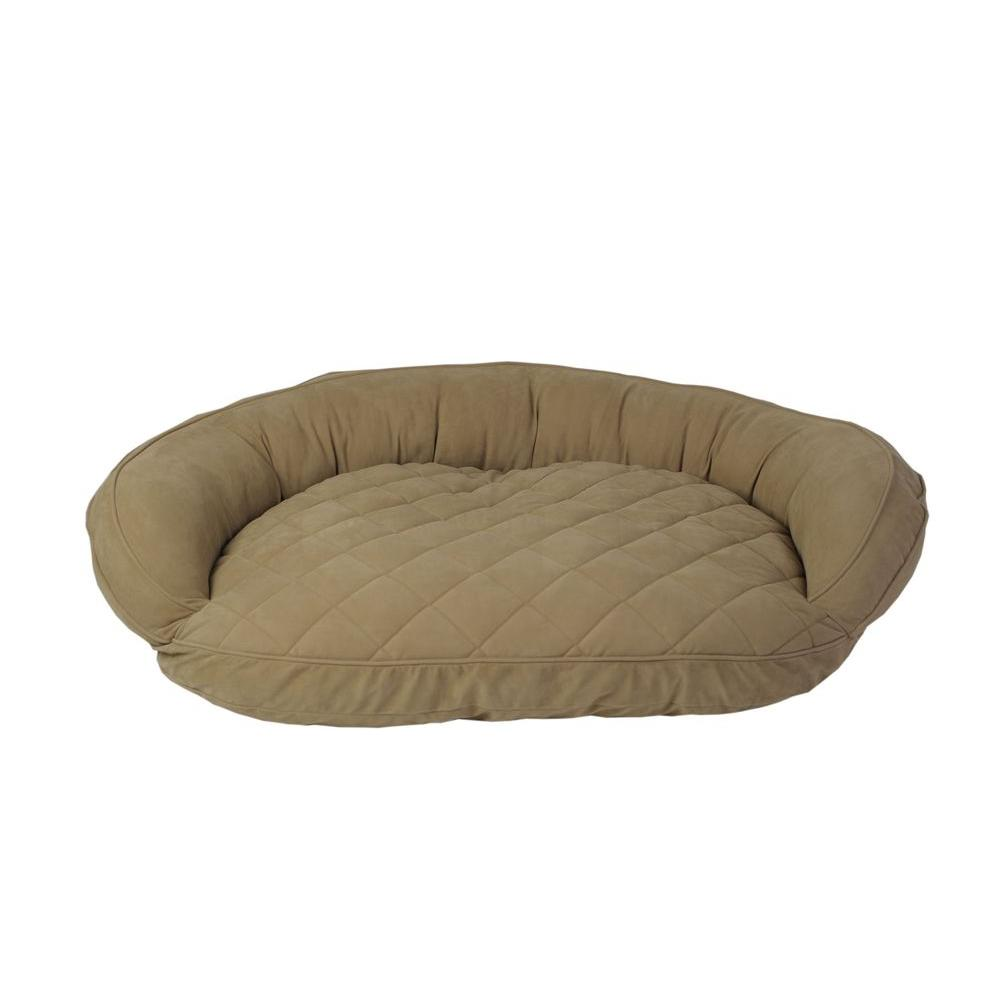 Carolina Pet Company Medium Sage Microfiber Quilted Bolster Bed with Moister Protection The ultimate in comfort and luxury for your pet. The Microfiber Quilted Bolster Bed features a plush diamond-quilted fabric. The high loft recycled polyester fill keeps your furry friend healthy and happy by relieving pressure on hips and joints.