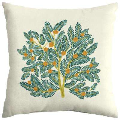 Artisans 18 in. x 18 in. Eugene Leaf Outdoor Square Throw Pillow Square