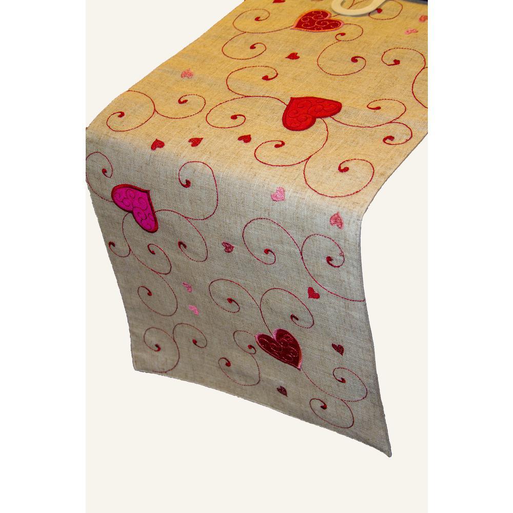 Lintex Heart Swirls Poly and Linen Table Runner by Lintex
