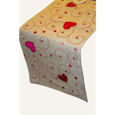 Heart Swirls Poly and Linen Table Runner