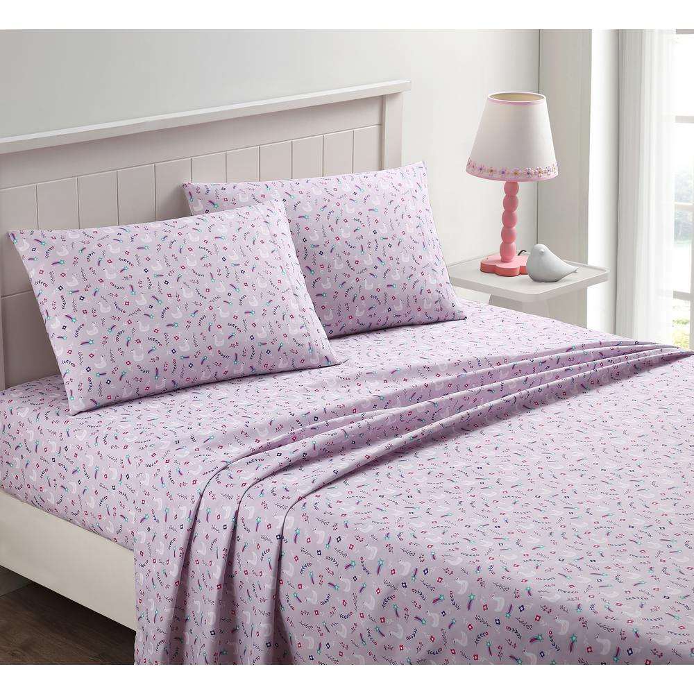 4-Piece Swan Love Purple Queen Sheet Set