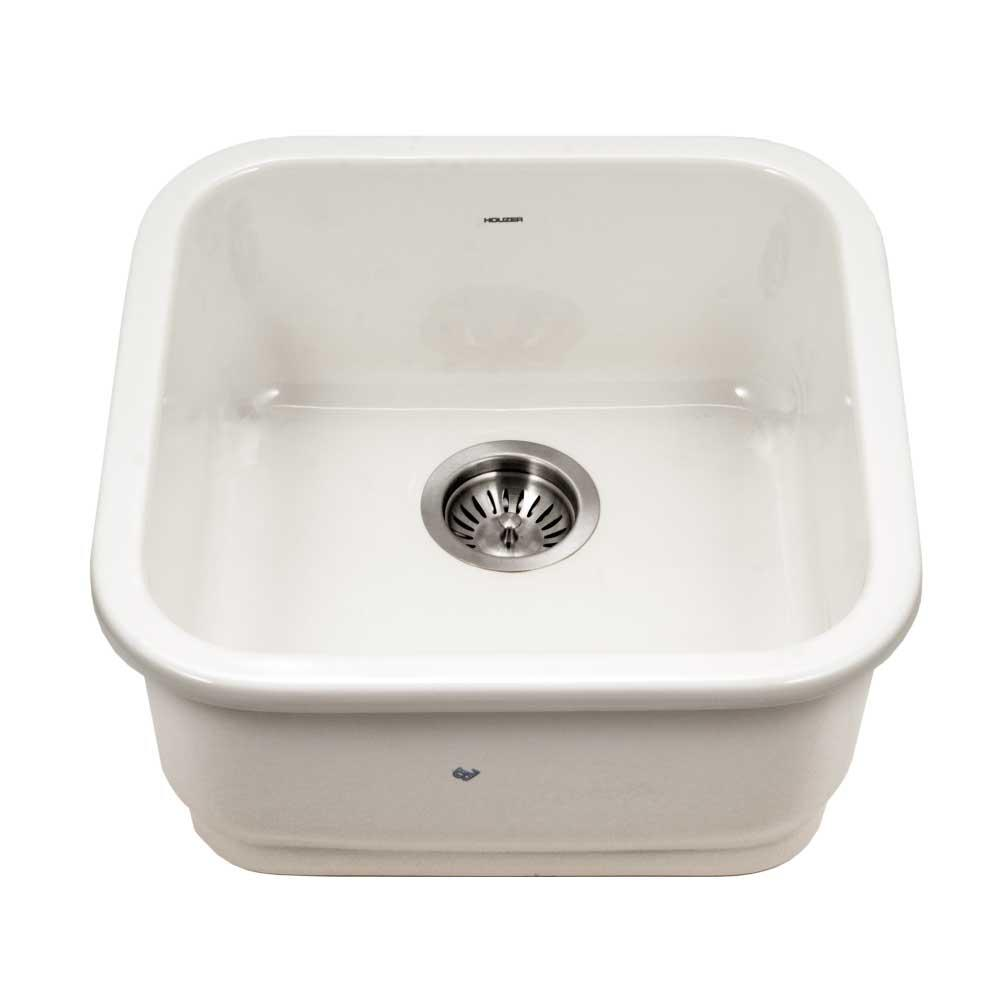 Platus Undermount Fireclay 19 in. Single Bowl Bar Sink in Biscuit