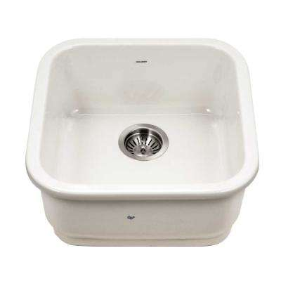Platus Undermount Fireclay 19 in. Single Bowl Bar Sink in Biscuit with Square Basin