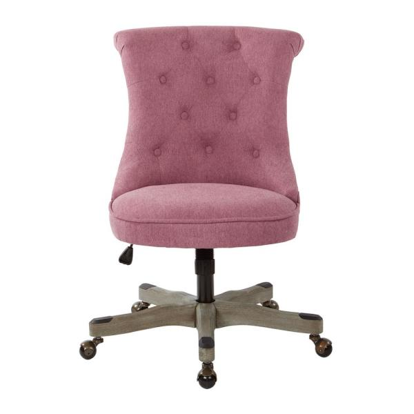 Hannah Orchid Fabric Tufted Office Chair with Grey Wood Base