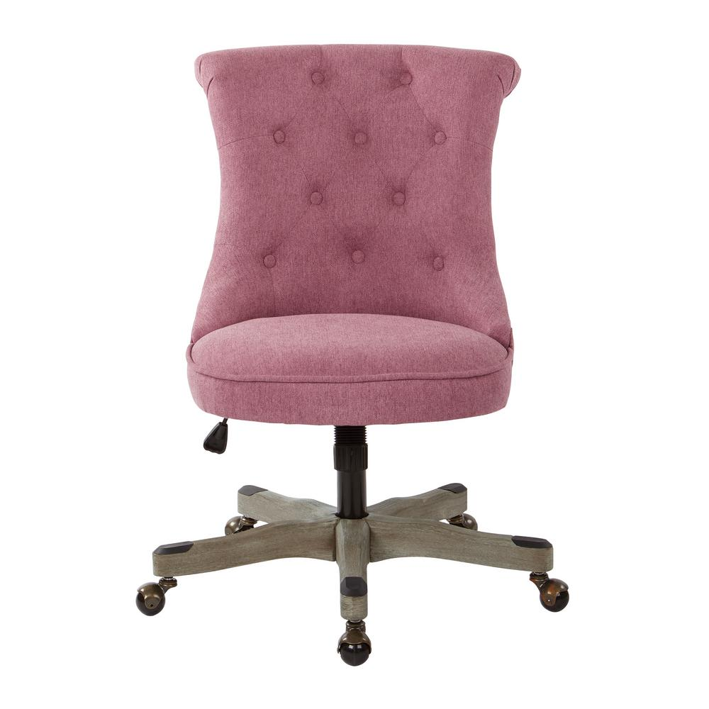 OSP Home Furnishings Hannah Orchid Fabric Tufted Office Chair with Grey Wood Base, Orchid Polyester With the look of an accent chair and the function of an office chair youll be a buzz of productivity with this chic desk chair in your home office. A classic button tufted, scroll back and piping trim seat with an inner foam core supports your body while you work. Easy care polyester fabric and a solid wood base offer long lasting durability and support. Create the home office of your dreams with the OSP Accents Hannah tufted office chair. Color: Orchid Polyester.
