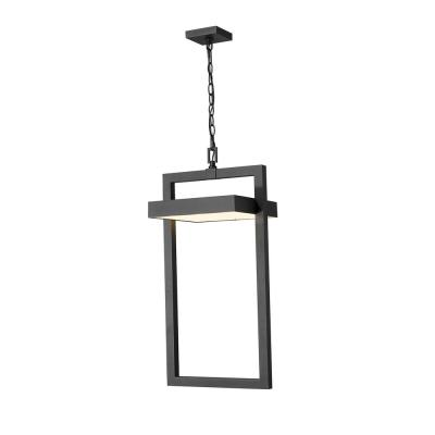 1-Light Black Integrated LED Outdoor Pendant Light