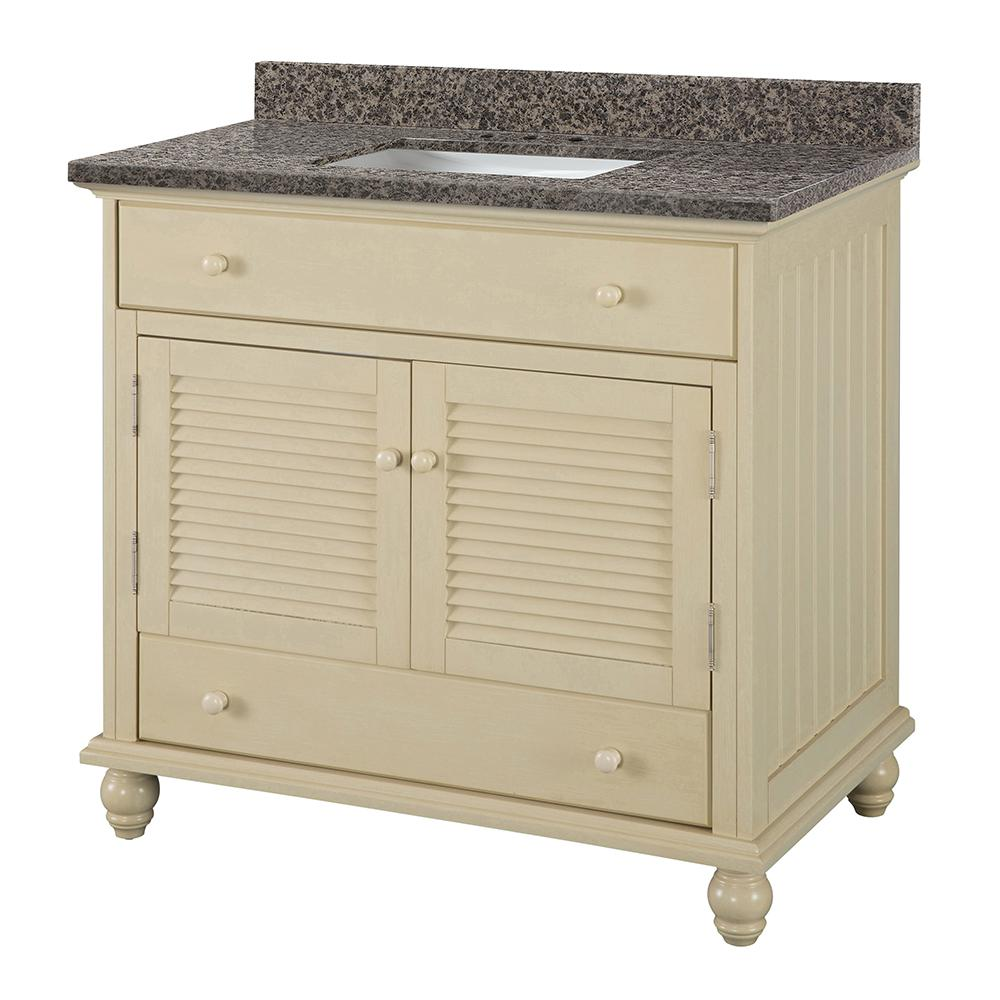 Home Decorators Collection Cottage 37 in. W x 22 in. D Vanity in Antique White with Granite Vanity Top in Sircolo with White Sink was $899.0 now $629.3 (30.0% off)