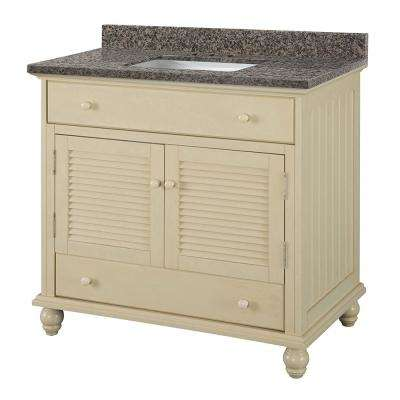 Cottage 37 in. W x 22 in. D Vanity in Antique White with Granite Vanity Top in Sircolo with White Sink