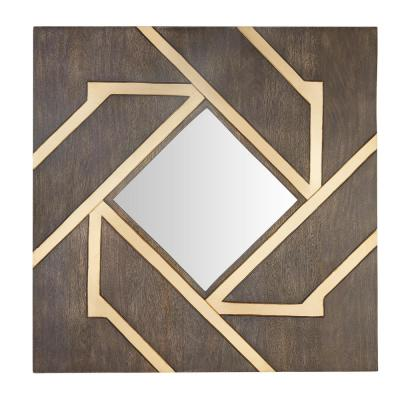 30 in. H x 30 in. W Home Decorators Collection Modern Square Framed Wood Accent Mirror with Gold Inlay