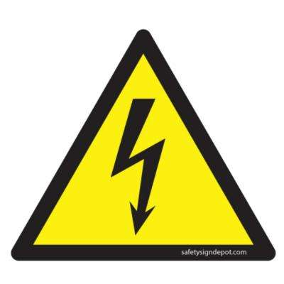 4 in. Triangular Decal Vinyl High Voltage Symbol Yellow Sticker