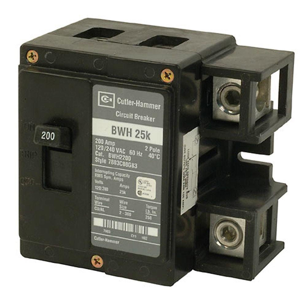 Eaton Bwh 200 Amp 2 Pole 25k Main Circuit Breaker Bwh2200 The Home 30 A Generator 375 Trip Amps Ebay