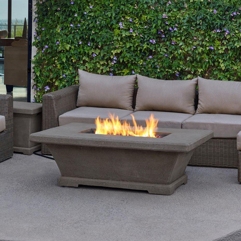 Fiber Concret Rectangle Propane Gas Fire Pit In Glacier