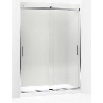 Levity 59.625 in. W x 82 in. H Frameless Sliding Shower Door in Brushed Nickel