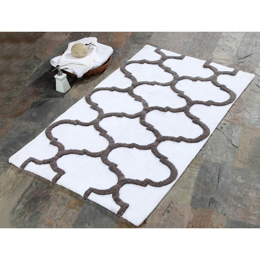 Saffron Fabs 50 in. x 30 in. Bath Rug Cotton in White and Gray