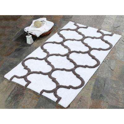 36 in. x 24 in. Bath Rug Cotton in White and Gray
