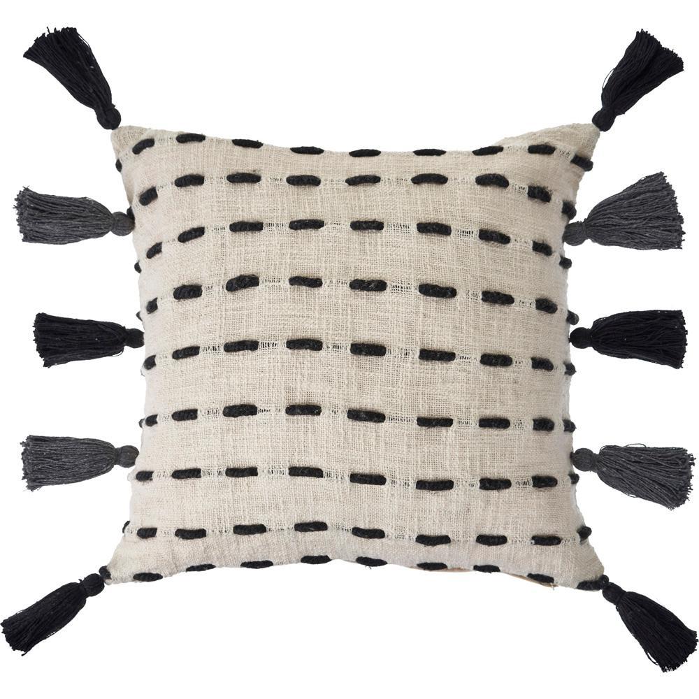 20 in. x 20 in. Black/Cream Stripe Tassel Polyfil Standard Throw Pillow