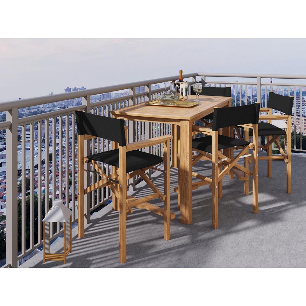 Hiteak Furniture Director Teak Rectangle Outdoor Bar Outdoor Set Black