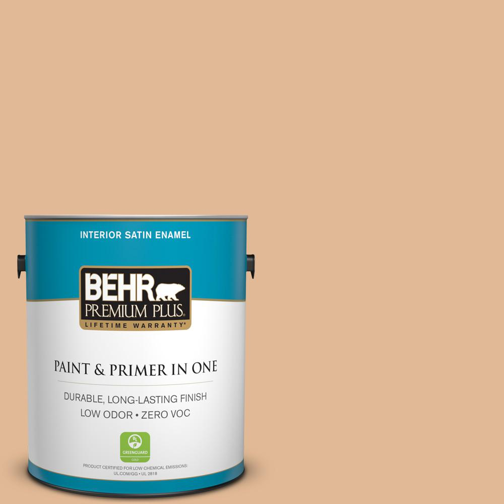BEHR Premium Plus 1-gal. #S250-3 Honey Nougat Satin Enamel Interior Paint