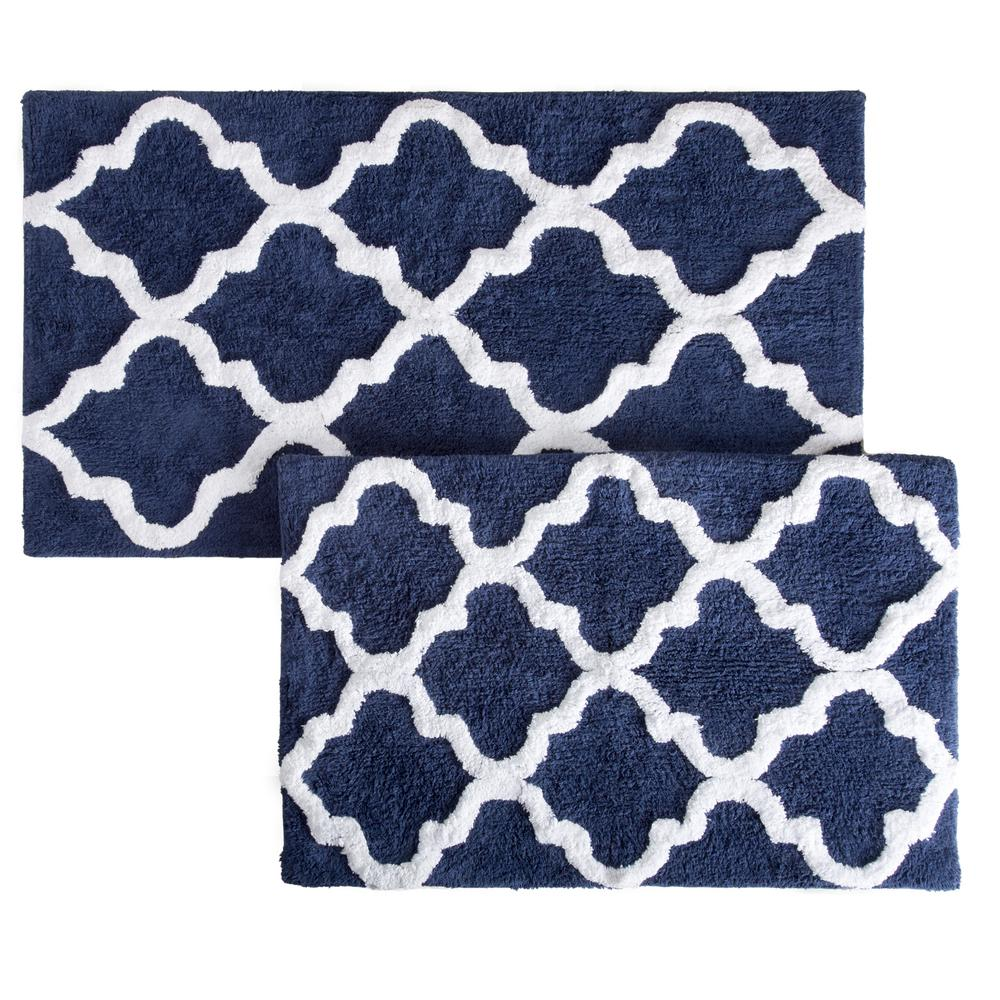 Trellis Navy 24.5 in. x 41 in. 2-Piece Mat Set